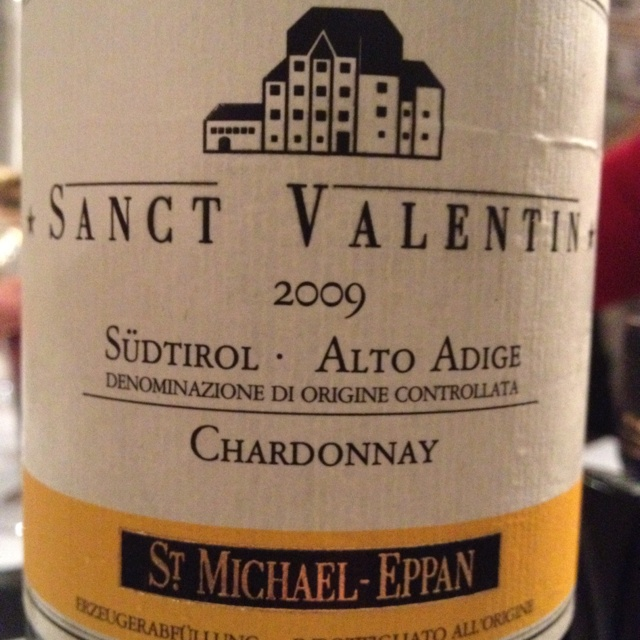 Sanct Valentin 2009 Chardonnay by San Michele Appiano. Highly recommend and at such a great price too!