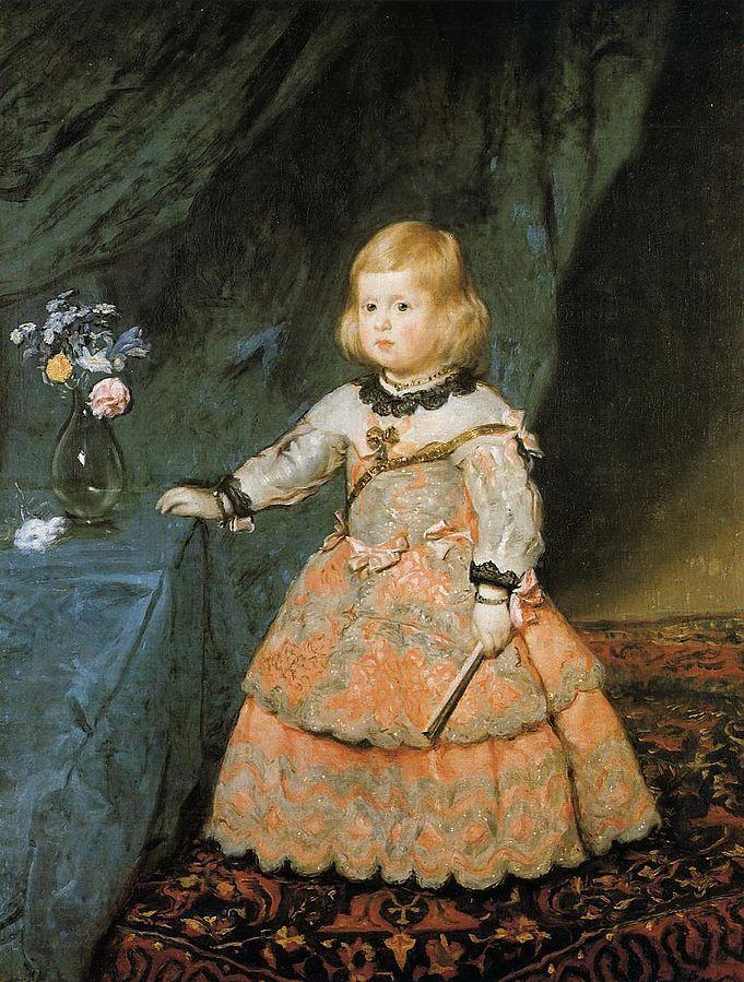 Infanta Margarita Teresa in pink dress (1654) by Diego Velázquez, Kunsthistorisches Museum, Vienna. | http://www.pinterest.com/pin/138837600986879262/