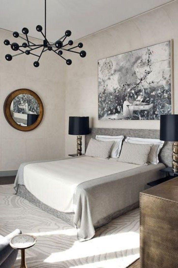 chambre coucher avec lustre design de couleur noir pour la chambre coucher moderne