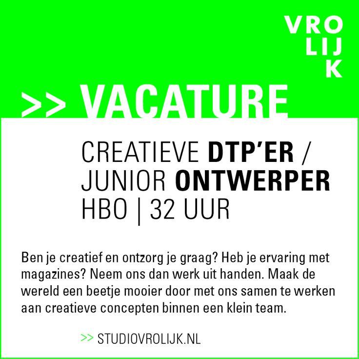 StudioVrolijk DTPer ontwerper vacature 2015 small