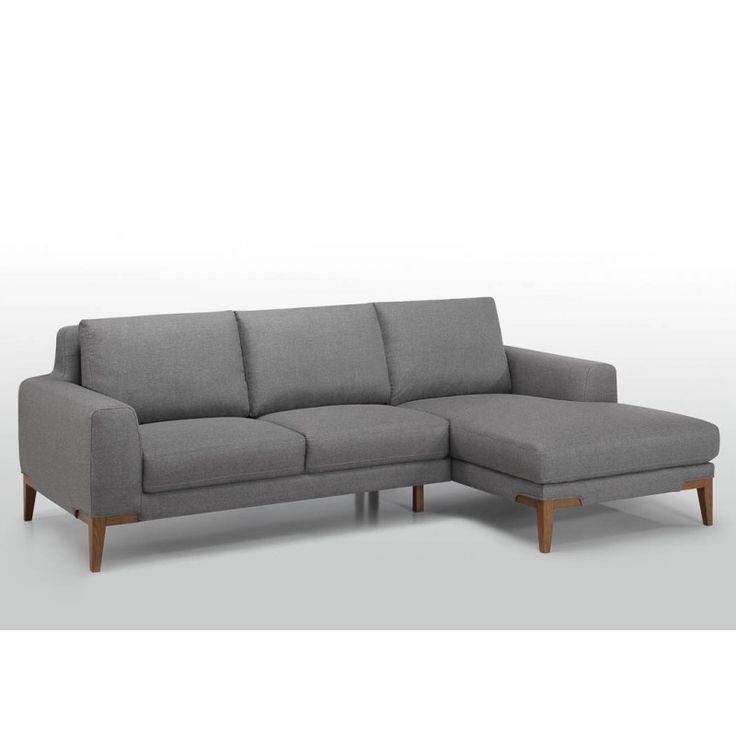 Les Tendances : Canapé d'angle en tissu Gris Luno Angle gauche