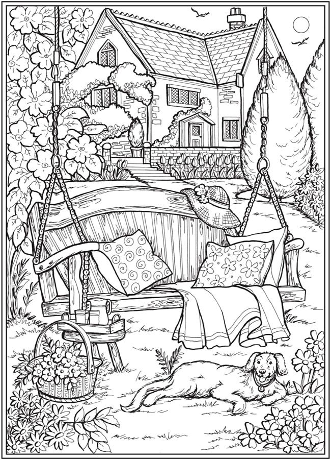 Welcome To Dover Publications Ch Country Gardens Dover Coloring Pages Detailed Coloring Pages Coloring Pages