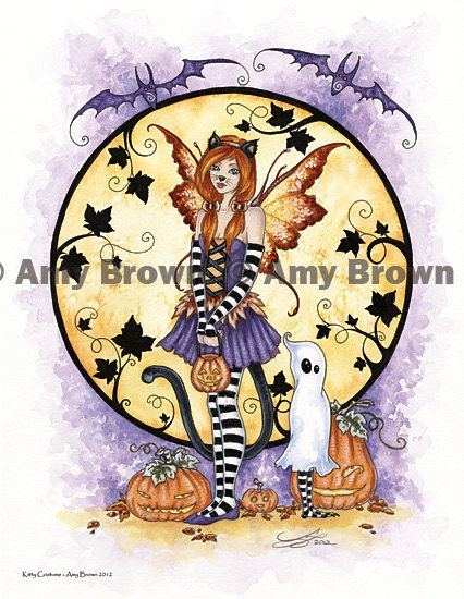 Halloween Kitty Costume Fairy print by Amy Brown by AmyBrownArt, $14.00