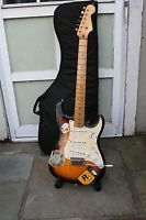 "Fender Squier Strat electric solid body guitar, sold ""AS-IS"" HAS CHARACTER"