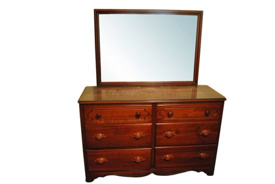 Super Nice 6 Drawer Solid Cherry Wood Dresser,  Chest with Mirror 55″ Wide
