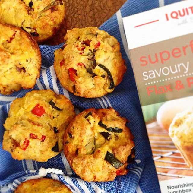 """Used up my leftover grilled vegetables from last night and made the #iqs polenta and flax muffins. I love how this mix allows you to add in your own…"""