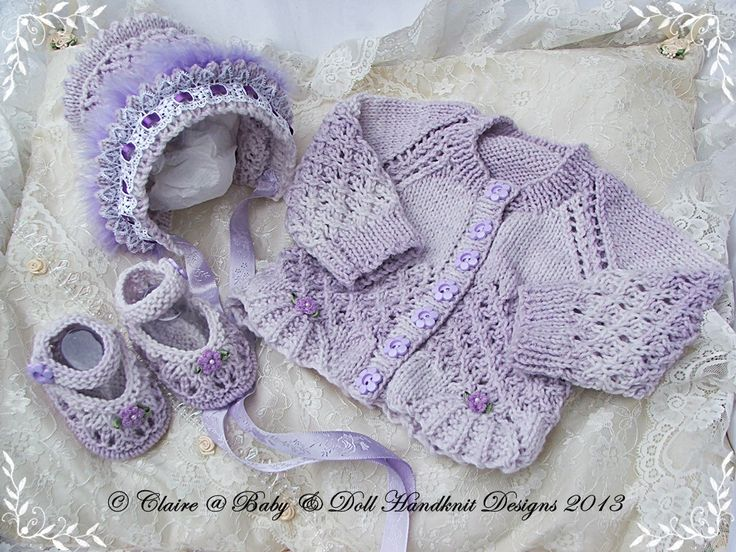 "New baby girl gift set cardigan, bonnet and shoes for premature/newborn/0-3m baby/14-22"" doll-baby, cardigan, bonnet, shoes, knitting patter..."