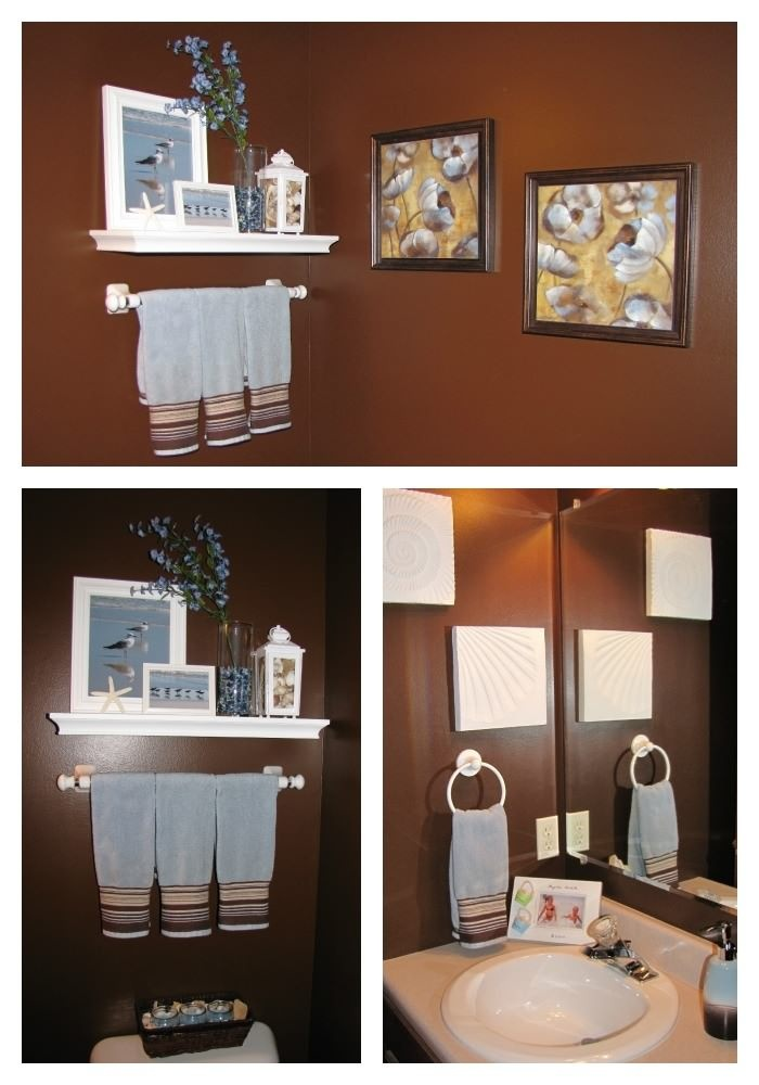 Beach Themed Bathroom. Love The Dark Brown With Light Blue And White  Accessories
