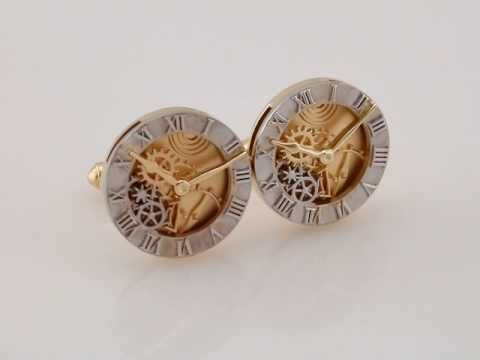 14K White and Yellow Gold Clock Design Cuff Links-Pair * heirloom quality * ~ personalized for you at Enchanted Jewelry 104 Main St Danielson, CT USA