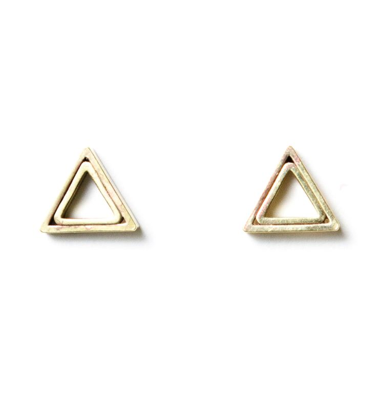 Concentric Triangle Vintage Brass Studs / Michelle Starbuck