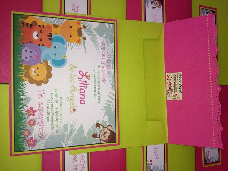 Tarjeta de invitación de Animales de la Selva para Niña! Tarjetas! Pinterest Animales