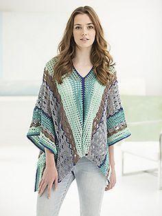 Clement Canyon Poncho - free crochet pattern by Teresa Chorzepa for Lion Brand Yarn.