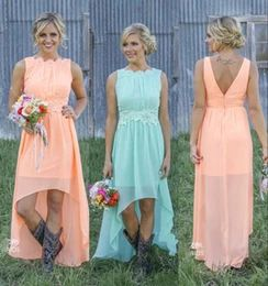Wholesale 2016 New Cheap Country Bridesmaid Dresses Bateau Backless High Low Chiffon Coral Mint Green Beach Maid Of Honor Dress For Wedding Party Prom