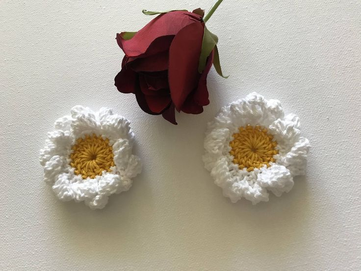 Excited to share the latest addition to my #etsy shop: Crochet flowers, crochet appliqués, flower appliqués, embellishments, set of 2 marguerites, stocking stuffer, white flower #supplies #white #crochetflowers #crochetappliques #flowerappliques #embellishments #setof2marguerites #stockingstuffer