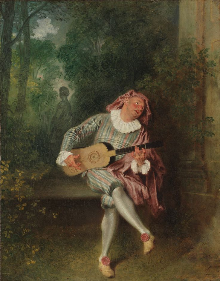 Antoine Watteau, French, 1684–1721. Mezzetin, ca. 1718–20. The Metropolitan Museum of Art, New York. Munsey Fund, 1934 (34.138) | Mezzetin was a stock comic character of the Italian commedia dell'arte and became an established presence on the Paris stage. He was by turns interfering, devious, and lovelorn. This famous painting was owned by Watteau's friend Jean de Jullienne and later by Catherine the Great, empress of Russia. #OneMetManyWorlds