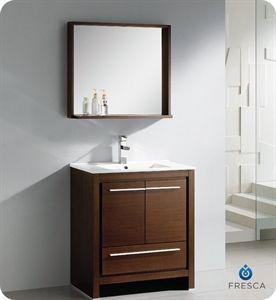 """Show details for Fresca Allier 30"""" Wenge Brown Modern Bathroom Vanity w/ Mirror"""