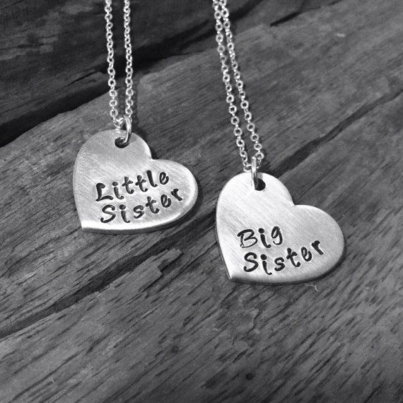 Handstamped big sister little sister necklace set, childrens matching necklace gift set, big sis little sis, lead free nickel free