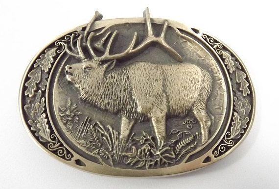 Moose Belt Buckle Vintage Solid Brass Marvelous Moose Lucky