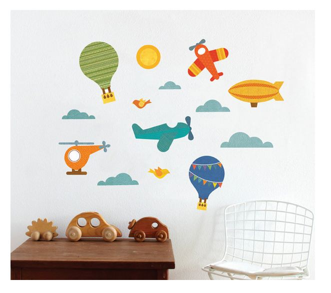 Petit Collage - Wall Decal - By Air - $69.95 - Stunning Petit Collage transport themed wall decal by Petit Collage!   Add a story and some colour to your wall with Petit Collage's distinctly patterned fabric wall decals!  This fabric won't rip, wrinkle, or leave residues.  Waterproof and easy to clean, the decals are safe for all non-porous surfaces. #littlebooteek #boys #bedroom #nursery #decor #petitcollage