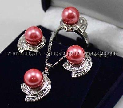Розовые розы юг морские раковины жемчужные серьги кольцо и ожерелья комплект >>> 18 К позолоченные часы оптовая продажа кварцевые камень CZ кристалл