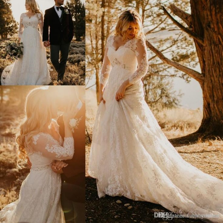 V Neck Long Wedding Dress Sheer Full Long Sleeves Plus Size Country Bridal Dress Gown with Appliques Lace Custom Made
