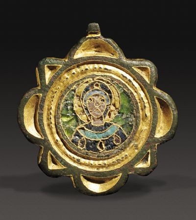 Middle Byzantine Gilded Bronze Pendant:  Mother Of God.  10th-12th century AD. Height 1 3/8 in.