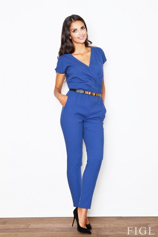 Elegant blue jumpsuit with decorative belt