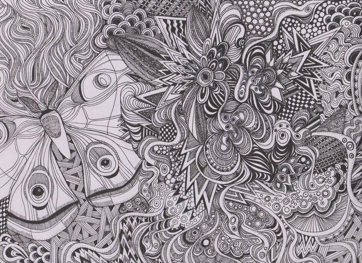 Sunday afternoon doodle.. fine liner op paper