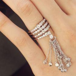 Полное пользовательских Корея роскошный блеск Циркон декор циркон кольцо с бриллиантом открытия небольшой кисточкой совместное кусок
