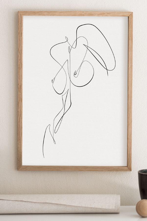 Nude Body Abstract Drawing, Feminine Naked Figure Printable, Woman Figure Line Art, One Line Drawing, Erotic Wall Art, Bedroom Minimal Art – Wim Yanov