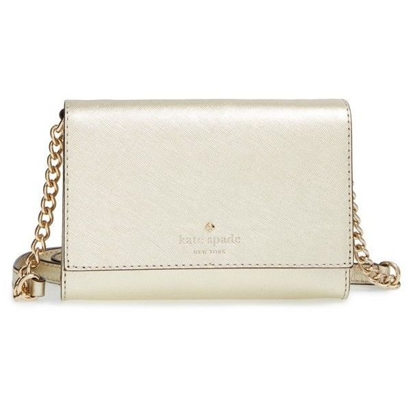 kate spade new york 'cedar street - cami' leather crossbody bag ($148) ❤ liked on Polyvore featuring bags, handbags, shoulder bags, gold, kate spade crossbody, kate spade purses, leather crossbody handbags, leather crossbody and chain strap purse