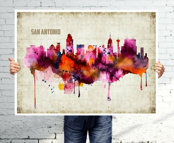 SAN ANTONIO  Art print  poster  Skyline  watercolor wall by BOX21, $25.00