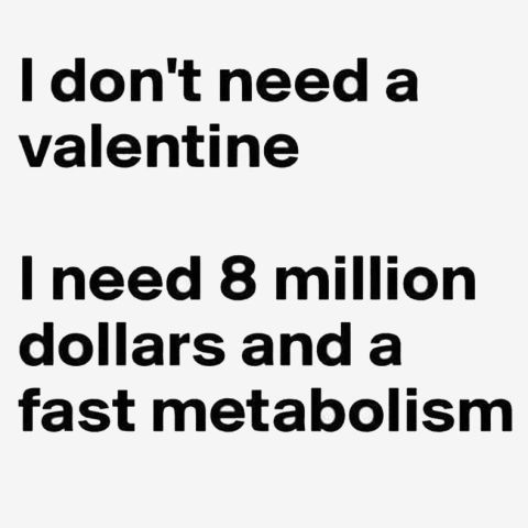 """""""I don't need a Valentine. I need 8 million dollars and a fast metabolism."""""""