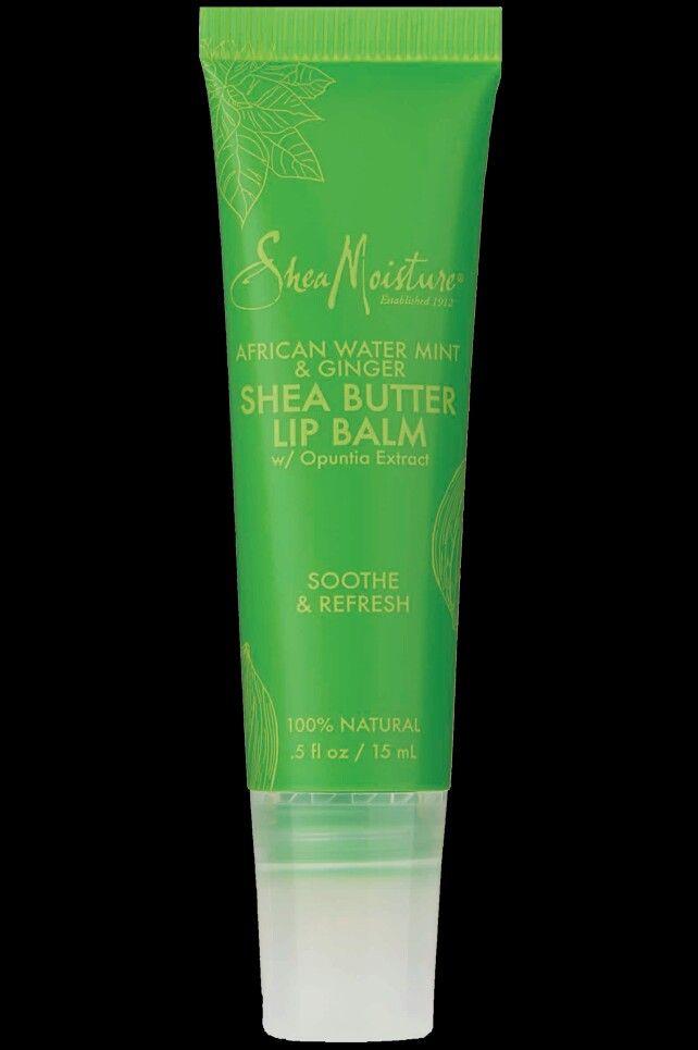 Shea Moisture african water, mint, and ginger shea butter lip balm. Keeps lips moist throughout the day. Also great under lipsticks. BlakIzBeautyful on youtube