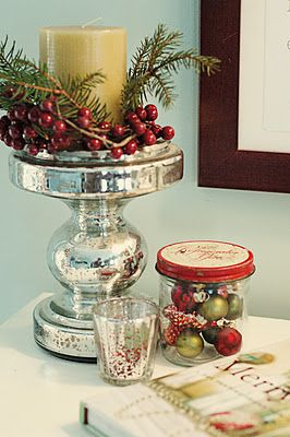 .: Holiday Ideas, Candle, Christmas Decorations, Glass, Family Room, Christmas Vignette, Photo, Christmas Ideas