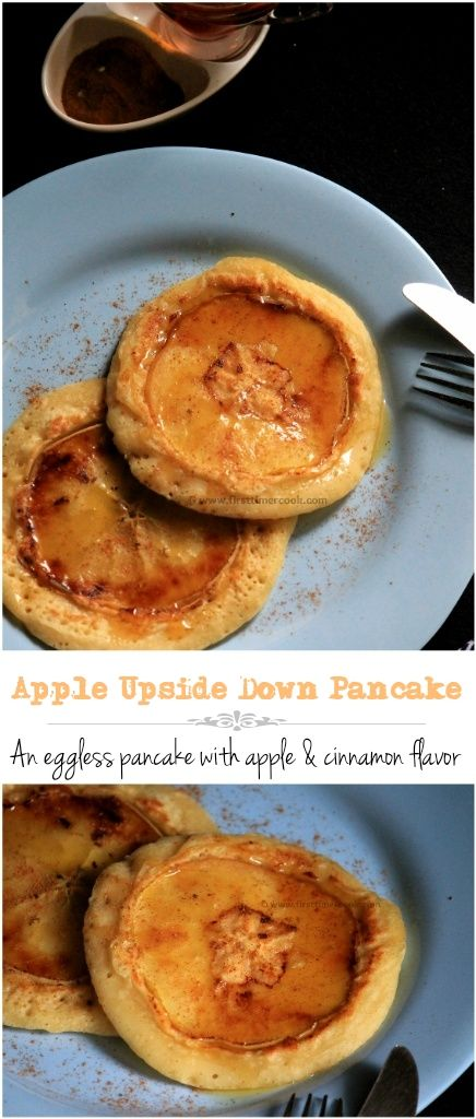 Pancake is a thin, flat, circular shape of cooked batter made from milk, flour, egg and butter. These are basically cooked on a frying pan or griddle by the help of butter or any oil. So how about some eggless pancakes to start a day with some apple and cinnamon flavor !!! Apple upside down pancake is a soft and fluffy eggless pancake topped with a thin slice of apple and the mild aroma of cinnamon. These are perfect Sunday breakfast option. These eggless pancakes are the easiest things to…