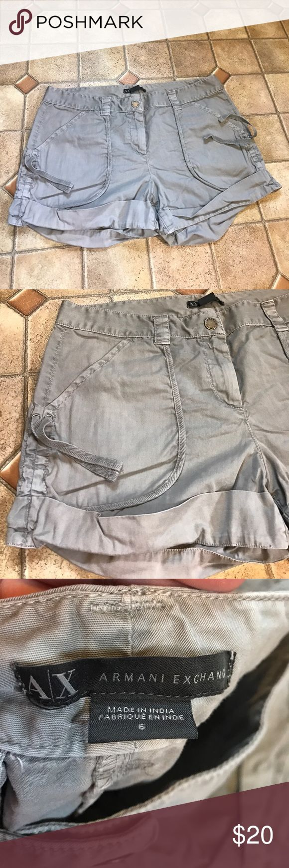 "Women's Armani exchange gray cargo shorts size 6 Women's Armani exchange gray cargo shorts size 6. Excellent used condition no tips/stains/holes etc. Waist is 16"" across, length is 3.5"" long A/X Armani Exchange Shorts"