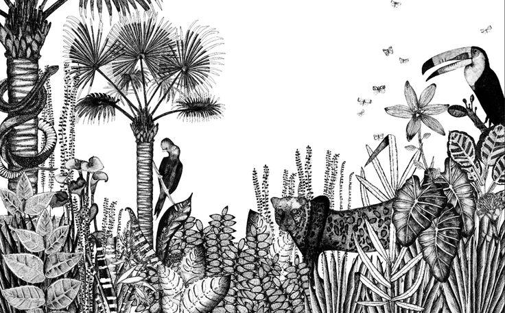 Motif The wild : Inspiré du Douanier Rousseau, cette jungle luxuriante et naive se dessine en noir&blanc pour un exotisme fort et frais. Panneau complet 2,80m h x 4,40 L : 900 euros Portionnable en 3 parties de 1,80 L x 80h : palmier/fauve/toucan, 300 euros l'unité. #Minakanilab
