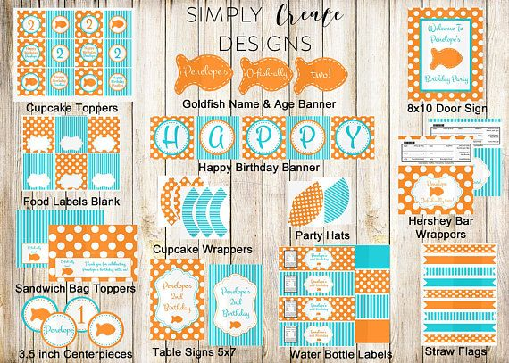 Personalized DIGITAL Goldfish Party Package. Its an adorable way to Celebrate your little ones Birthday. Just Print and Create. ********************************************************************** Please INCLUDE in the COMMENT SECTION during checkout: 1. NAME 2. AGE