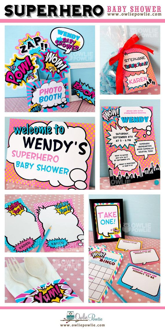 Baby Shower Superhero Party Pink by OwliePowlie