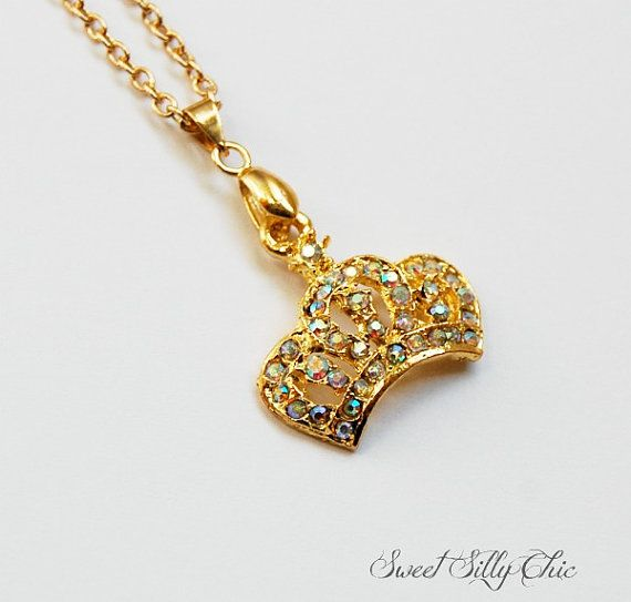 Gold Princess Crown Necklace Gold Rhinestone by SweetSillyChicGold Princess Crown