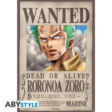 ONE PIECE Poster One Piece Wanted Zoro (98x68)