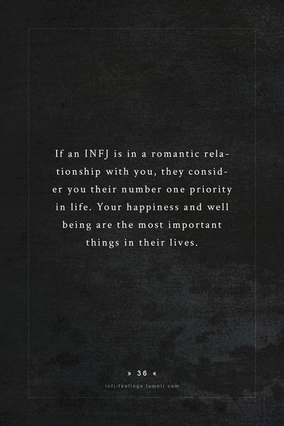 INFJ in a romantic relationship. BUT, this is just as true in an INFP romantic relationship! :)