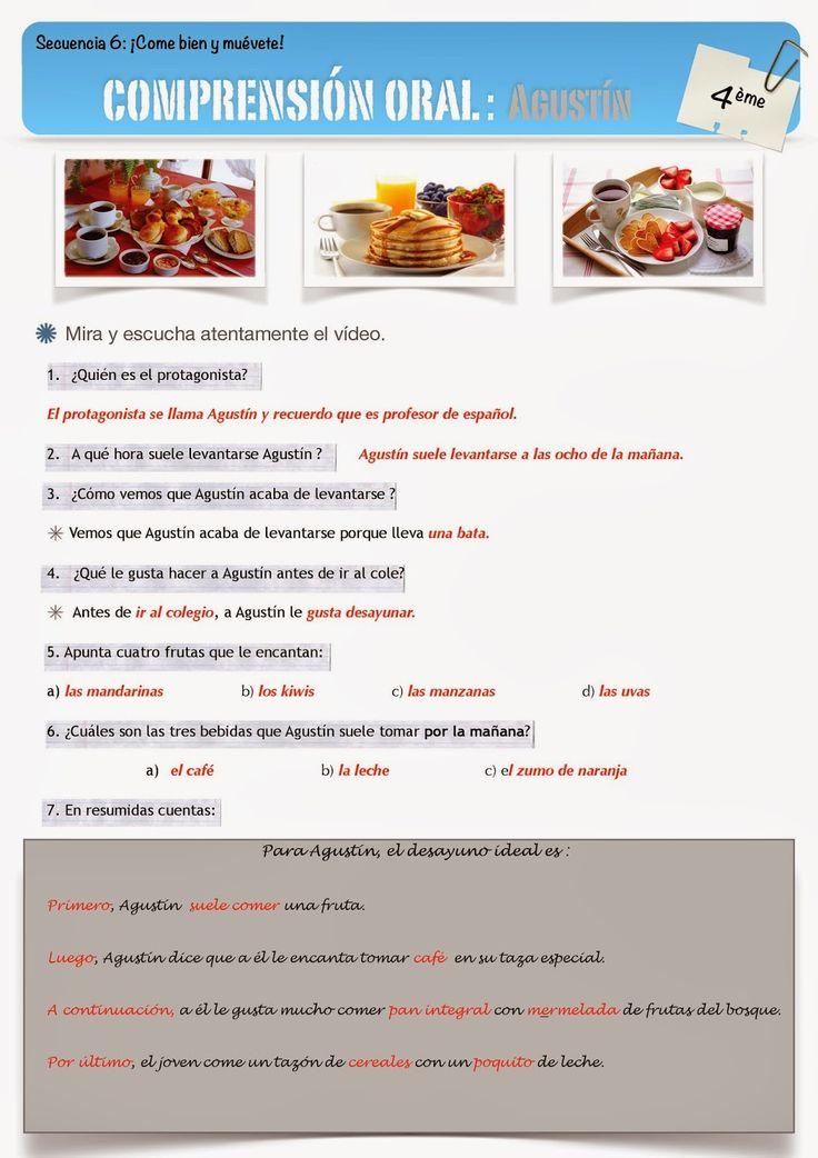 Clase De Espanol Comprension Oral El Desayuno De Agustin Espagnol Cours Espagnol Cuisine