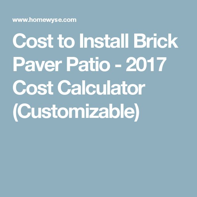 Cost To Install Brick Paver Patio   2017 Cost Calculator (Customizable)