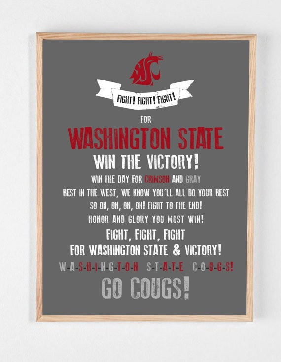 WSU COUGARS Fight Song Poster - Washington State University. $22.00, via Etsy.