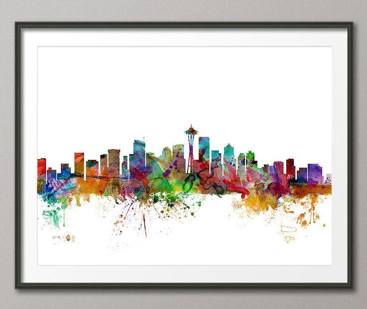 Seattle Skyline, Seattle Washington Cityscape Art Print (1203) by artPause on Etsy https://www.etsy.com/listing/199072578/seattle-skyline-seattle-washington