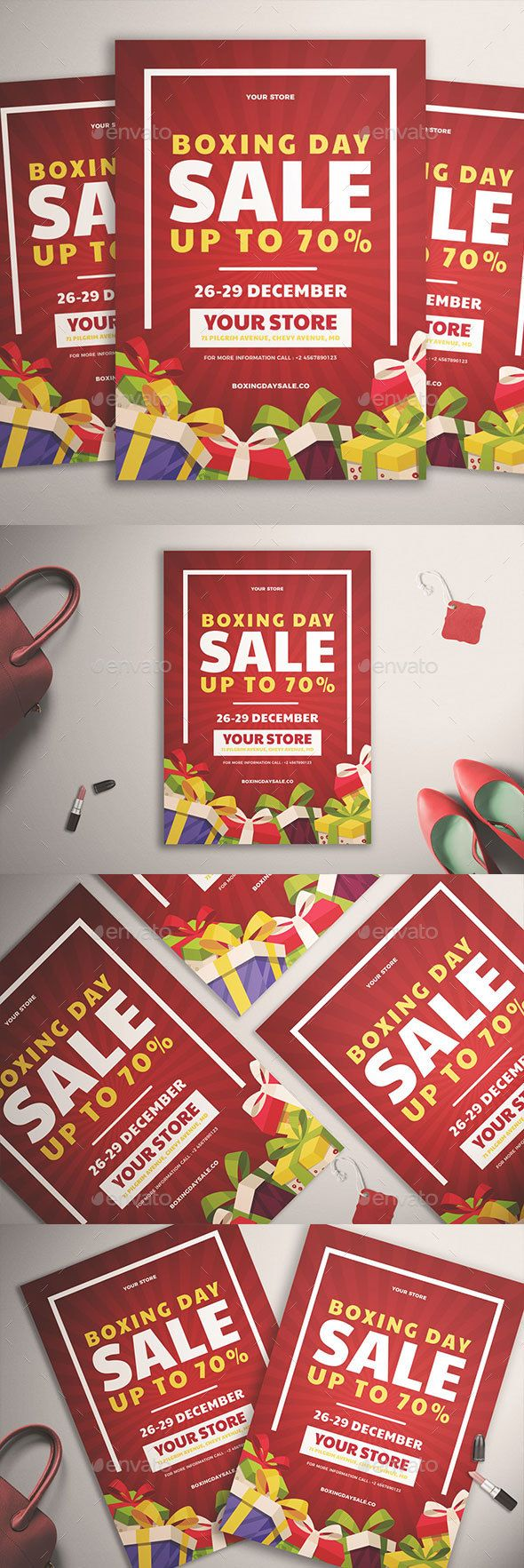Boxing Day Sale Flyer Template PSD, AI #design