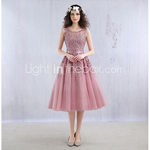 Cocktail Party Dress Ball Gown Jewel Tea-length Lace / Tulle with Beading / Lace 2017 - $89.99