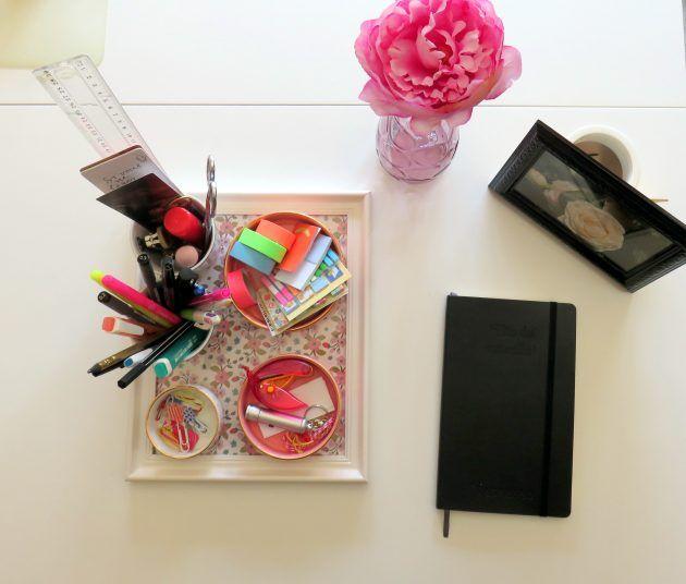 Une touche de rose, un peu de noir, mon nouveau coin bureau !
